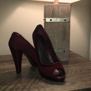 Nine West peep toe burgundy pumps
